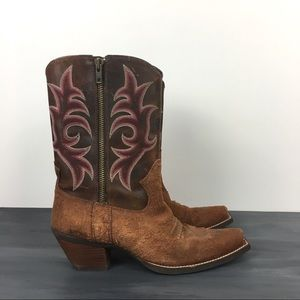 Ariat zip cowboy boots two toned leather